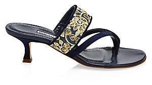 Manolo Blahnik Women's Susamour Floral-Embroidered Thong Sandals
