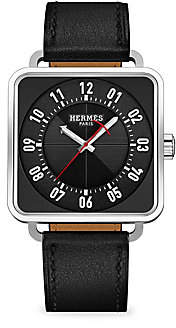 HERMÃS Women's Carre H 38MM Square Stainless Steel & Leather Strap Watch