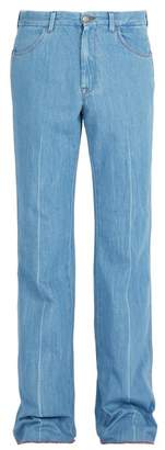 Gucci Linen Denim Flared Trousers - Mens - Blue