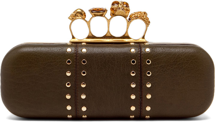Alexander McQueen Knuckle Box Clutch in Olive Green