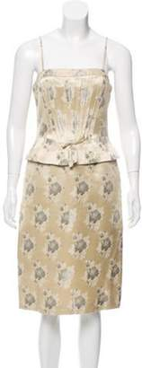 Luca Luca Brocade Cocktail Dress w/ Tags silver Luca Luca Brocade Cocktail Dress w/ Tags