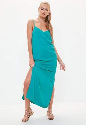 Missguided Blue Cami Low Back Maxi Dress