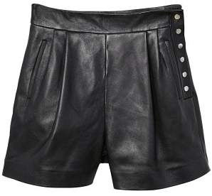 MANGO High-waist leather shorts