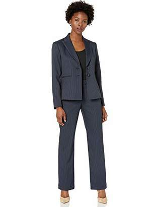 Le Suit Women's Plus Size 2 Button Mini Stripe Pant Suit