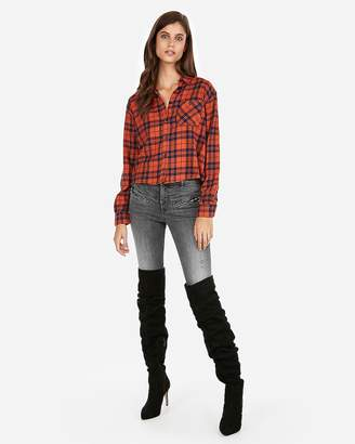 Express Cropped Plaid Pocket Flannel Shirt