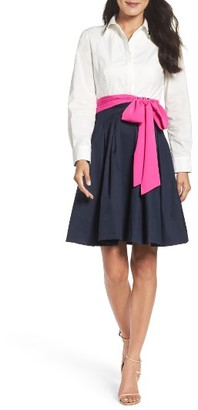 Women's Eliza J Poplin & Satin Dress $148 thestylecure.com