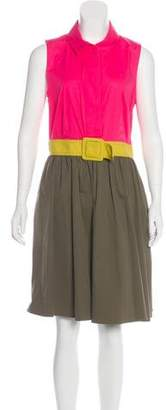 Paule Ka Sleeveless Colorblock Dress