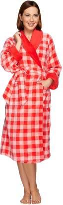 Isaac Mizrahi Live! Gingham Print Plush Robe