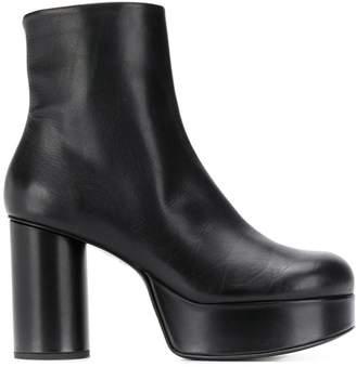 Jil Sander ankle leather platform booties