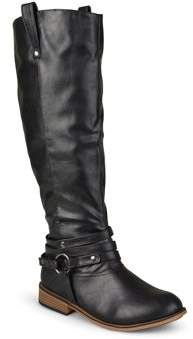 Brinley Co. Womens Wide-Calf Knee-High Ankle-Strap Riding Boot