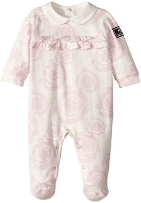 Versace Kids All Over Barocchino Print Collar Footie Girl's Jumpsuit & Rompers One Piece