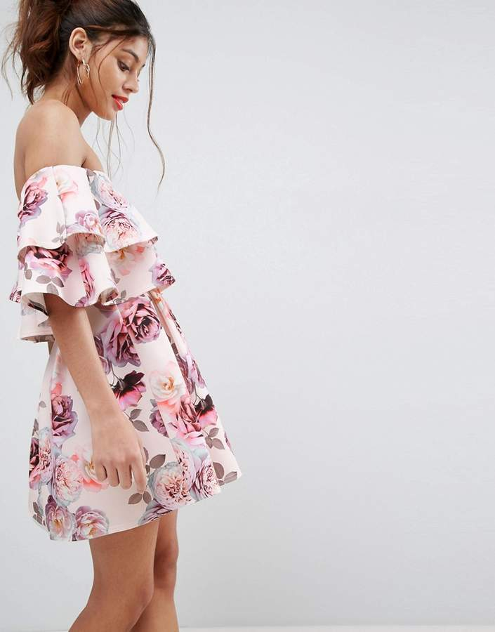 Asos ASOS Double Ruffle Bardot Mini Skater Dress