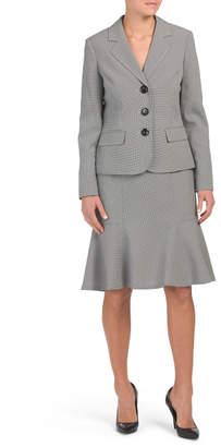 3 Button Jacket Flare Skirt Suit