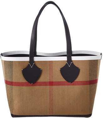 Burberry Medium Giant Reversible Canvas Check & Leather Tote