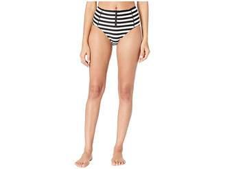 Kate Spade Cape May High-Waisted Bikini Bottoms w/ Bow Zipper Pull