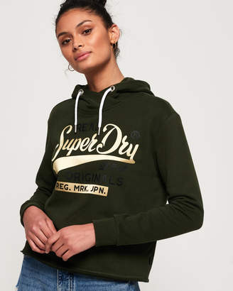 Superdry Real Originals Satin College Crop Hoodie
