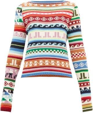 Lanvin Jl Monogram Jacquard Motif Wool Blend Sweater - Womens - Multi