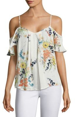 Joie Adorlee Floral-Printed Silk Cold Shoulder Blouse $188 thestylecure.com