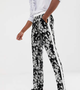 Asos EDITION Tall slim tuxedo suit pants in monochrome floral jacquard
