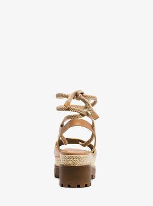 Michael Kors Kirstie Runway Leather and Jute Sandal