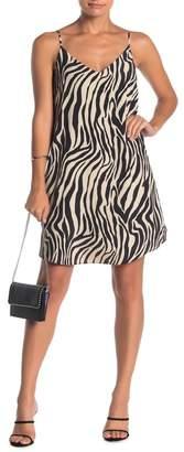 Naked Zebra Zebra Print V-Neck Slip Dress