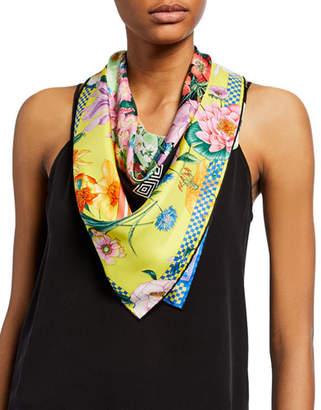 Versace Floral & Checkered Silk Scarf