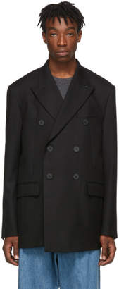 Wooyoungmi Black Wool Double-Breasted Blazer