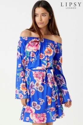 Next Womens Lipsy Printed Flute Sleeve Bardot Dress