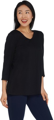 Belle By Kim Gravel Essentials TripleLuxe Knit V-Neck Top