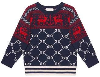 Gucci Children's GG reindeers wool sweater