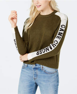 Ohmg Juniors' Text-Stripe Sweater