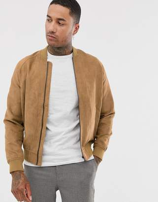 Bershka faux suede bomber jacket in brown