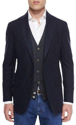 Ermenegildo Zegna Gingham Two-Button Silk Sport Coat, Navy $2,495 thestylecure.com