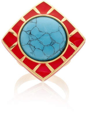 MER's Gold Plated-Sterling Silver, Enamel And Howlite Ring Size: 0.5