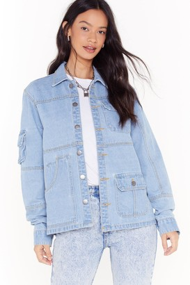 Nasty Gal Womens Pocket With The Program Oversized Denim Jacket - Blue - 6