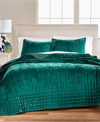 Martha Stewart Collection CLOSEOUT! Tufted Velvet Full/Queen Quilt, Created for Macy's
