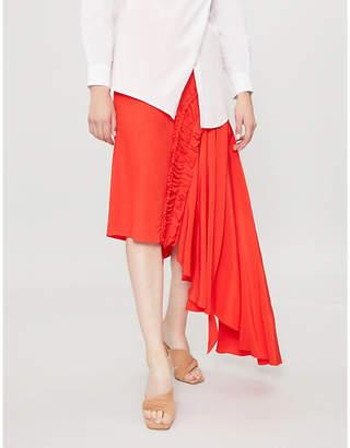 Preen Line Gracia asymmetric-hem crepe de chine skirt