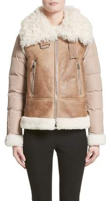 Moncler Kilia Genuine Shearling & Down Puffer Jacket