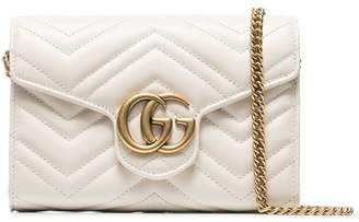 Gucci white GG marmont leather shoulder bag