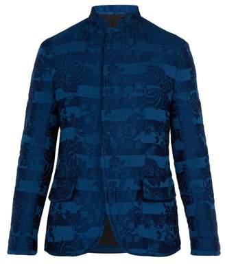 Haider Ackermann Floral Brocade Padded Linen Blend Jacket - Mens - Blue