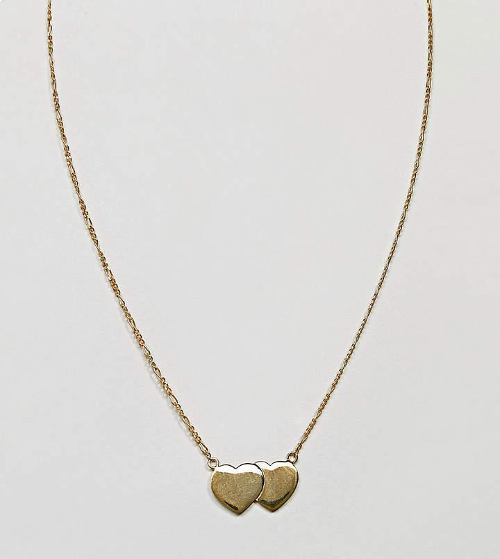 – Vergoldete Halskette aus Sterlingsilber mit schwebendem, doppeltem Herzdesign
