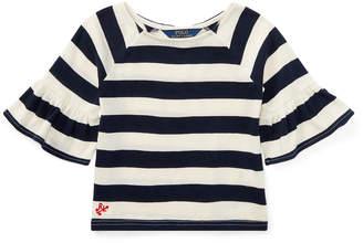 Ralph Lauren Striped Ruffle-Sleeve Top