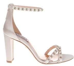 Badgley Mischka Hopper Satin Ankle-Strap Sandals
