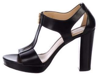 MICHAEL Michael Kors Leather Peep-Toe Sandals