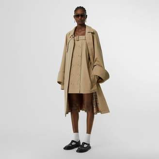 Burberry Exaggerated Cuff Cotton Gabardine Car Coat