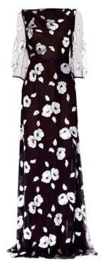 Carolina Herrera Sheer Elbow Sleeve Floral Gown