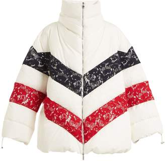 Moncler Gamme Rouge Chunjie tri-colour lace quilted down jacket