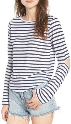Women's Lna Odeon Stripe Cutout Tee $97 thestylecure.com
