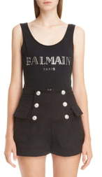 Balmain 3D Metallic Logo Cotton Bodysuit