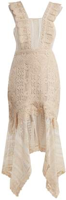 Jonathan Simkhai Handkerchief-hem cotton macramé-lace dress